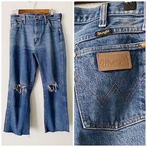 WRANGLER || Vintage Distressed Crop Jeans